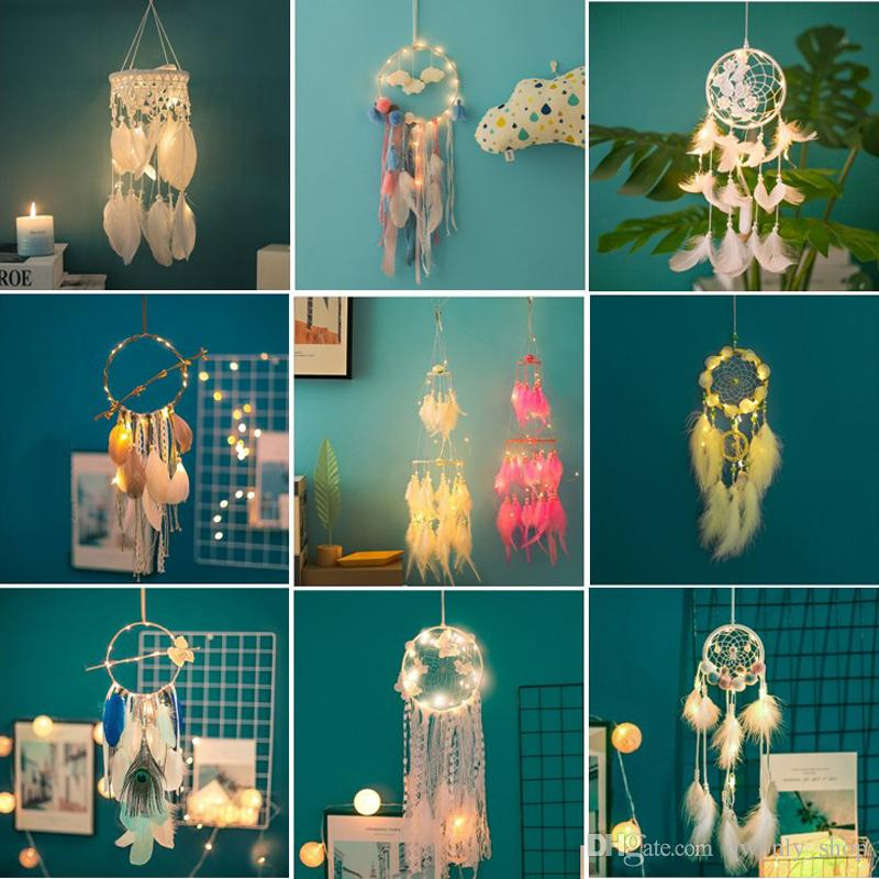 Handmade LED Light Dream Catcher Feathers Car Home Wall Hanging Decoration Ornament Gift Dreamcatcher Lace Wind Chime 20 Styles