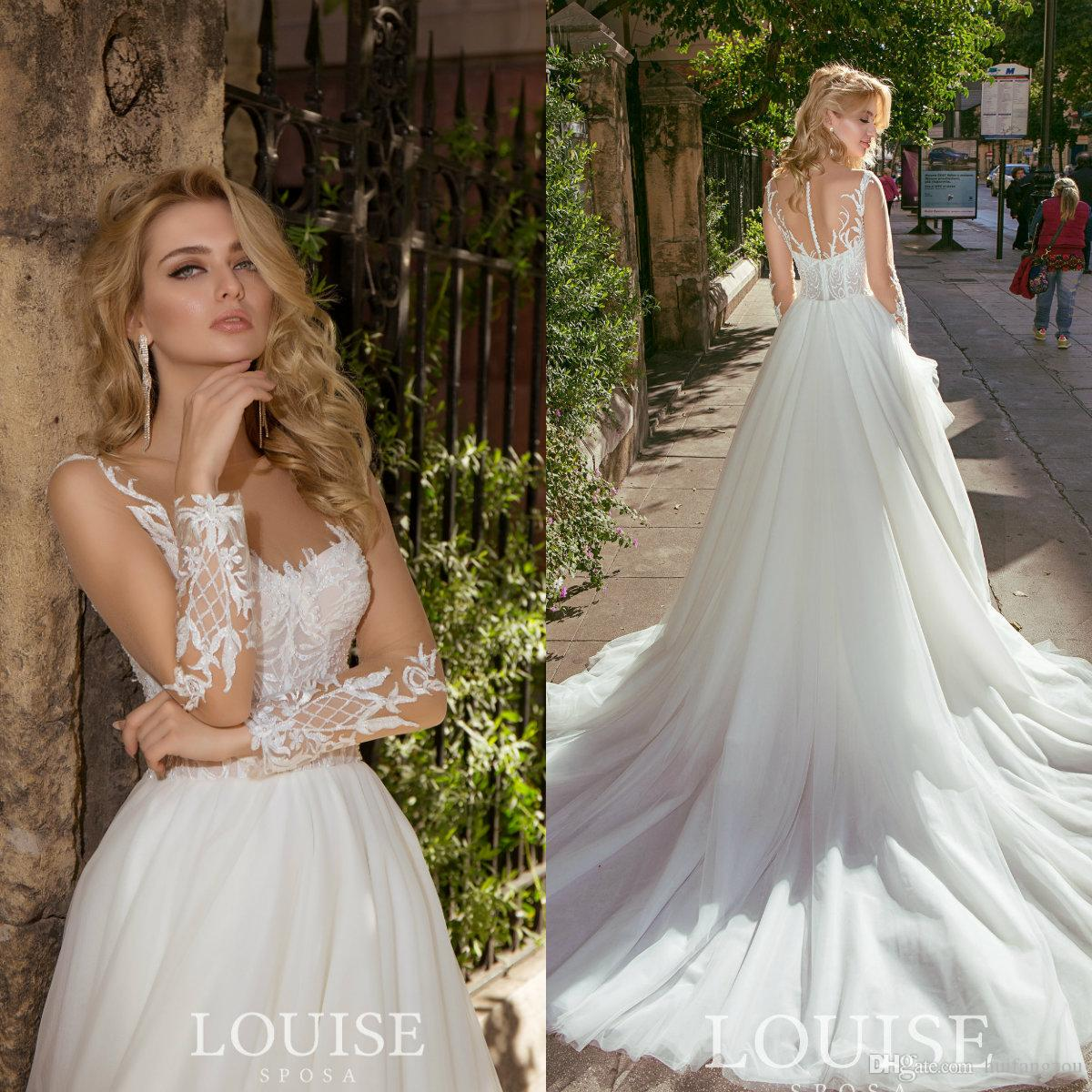 f97f19b4ae2 Discount 2019 Long Sleeve Wedding Dresses Buttons Back Sweep Train Lace Bridal  Gowns Louise Sposa Sexy Wedding Dress Vestido De Novia Wedding Party Dresses  ...