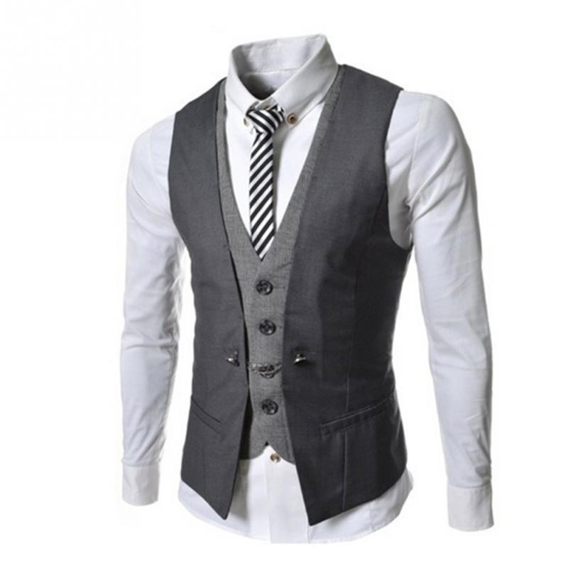 Mens Waistcoat Causal Slim Sleeveless Formal Coat Business Suit Vest Wine Redblackblue Size M Xxl