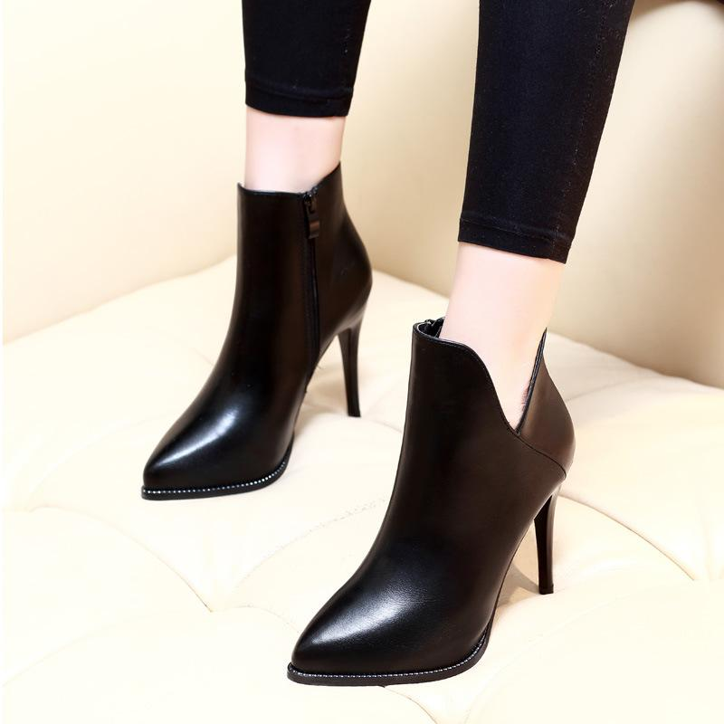 Fashion Sexy Pointed Personality V-shaped High Heel Boots 2018 ... d21b3a4e99f5