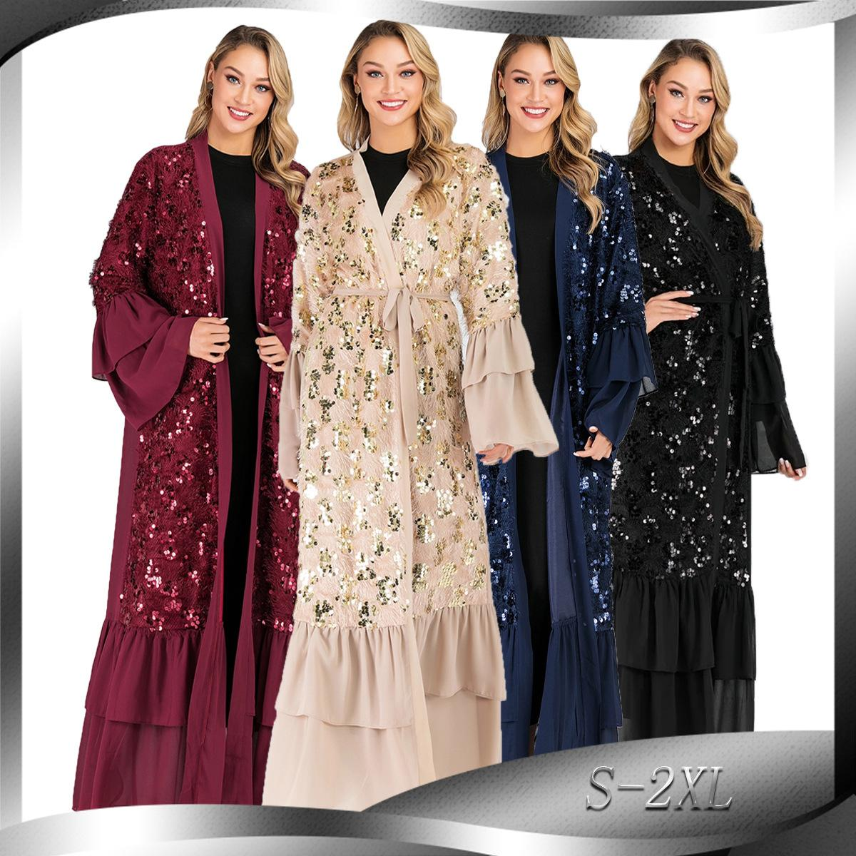 CM1737 sequins robes chiffon trumpet sleeves Muslim cardigan dress Elegant New Fashion Robes for Dubai Women