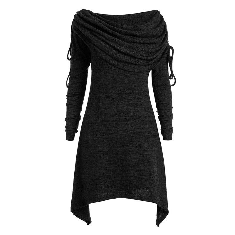Knitted Dress Women Plus Size Solid Black Scarf Collar Spring Street  Hipster Lace Up Slim Thin Female Gray Casual Mini Dresses Graduation Maxi  Dresses ... 17910f996