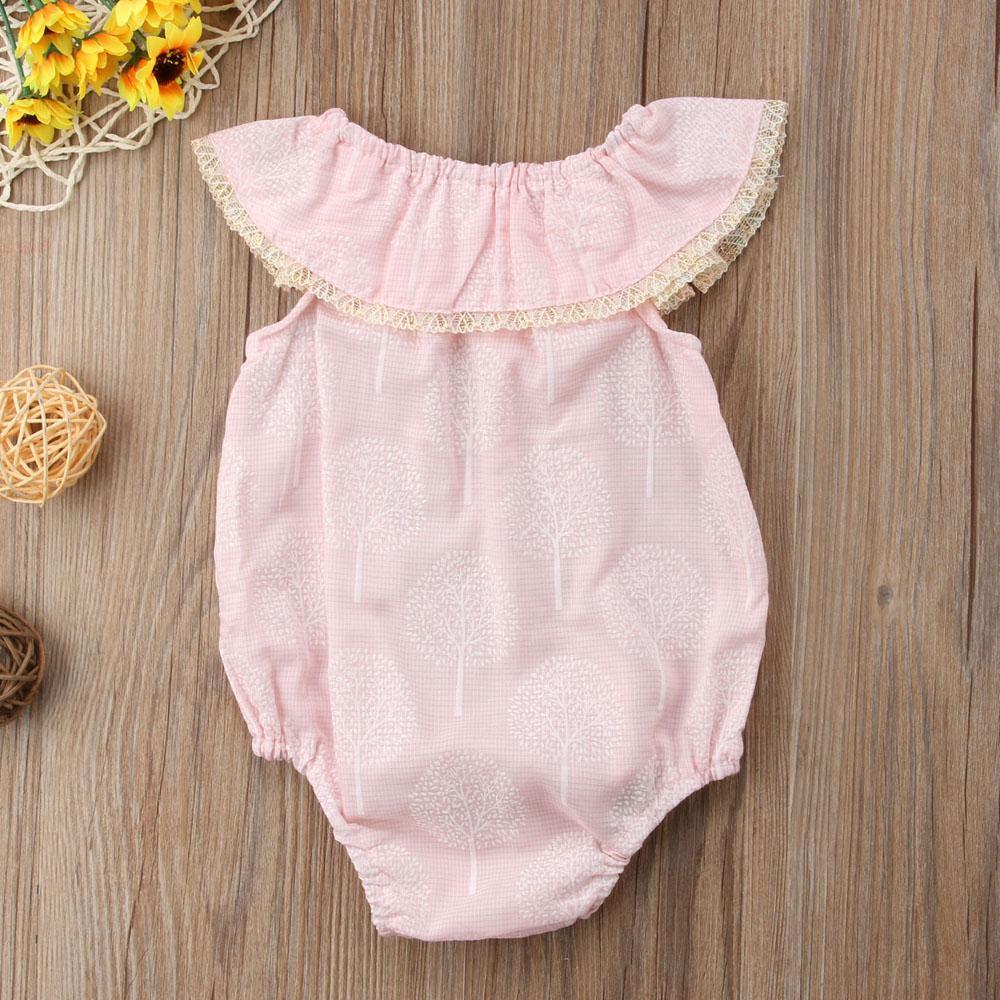 NEW neugeborene Kind-Baby-Baum-Druck-Weg-Schulter-Spielanzug sunsuit Kleidung