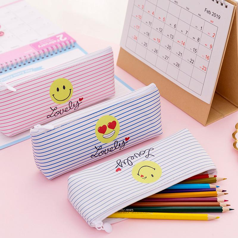 Cute Pencil Bag & Case Pu Leather Emoji Smile Stripes Student Girls Cartoon Pink Storage Bags for School Supply Stationery