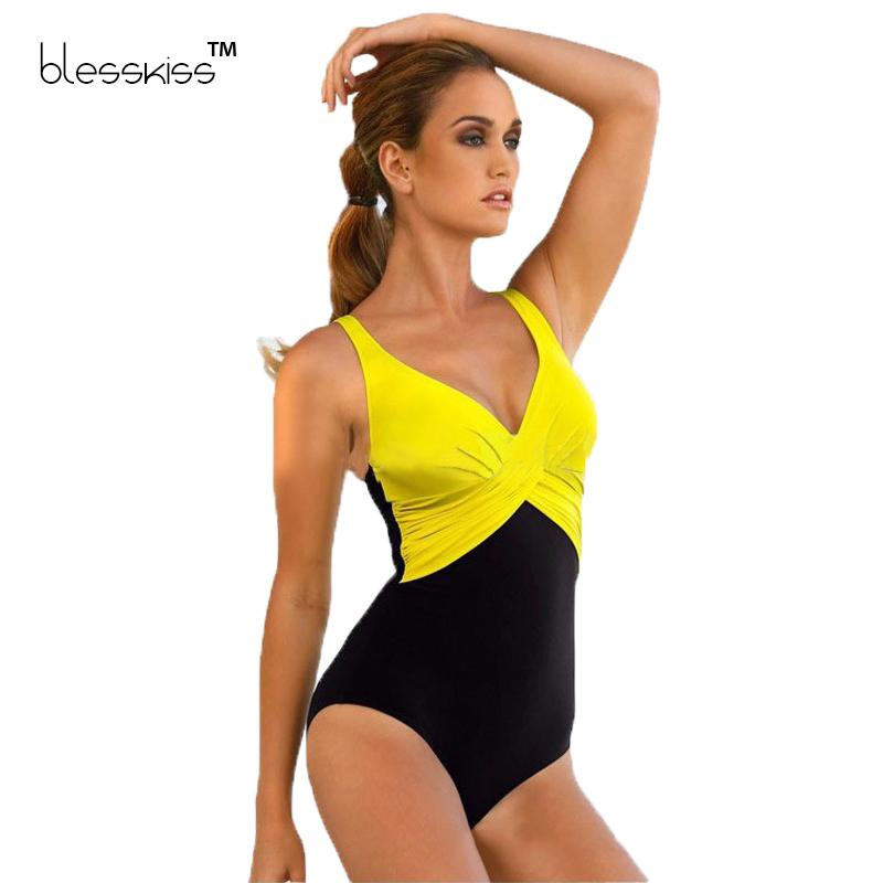 221cfde3564 2019 Blesskiss Plus Size Swimwear Women Swimsuit 2016 Summer Large Beach  Vintage Retro One Piece Swimsuit Bathing Suits Swim Wear From Weskit