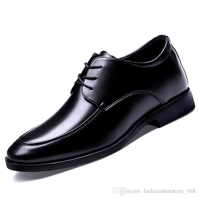 ce546833baf Height Increasing 6CM Man Shoes Genuine Leather Dress Men Shoes Lace Up  Italy Retro Business Mens Wedding Formal Oxford Shoes For Men
