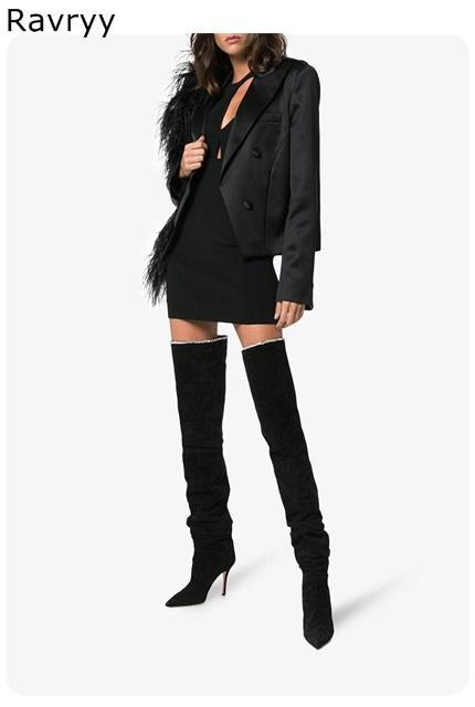 ced49fe77 Compre Tacón Fino Botas Largas De Mujer De Cuero Negro Moda Concisa Botas  Por Encima De La Rodilla Punta Estrecha Modelo Atuendo Vestido De Fiesta  Zapato A ...