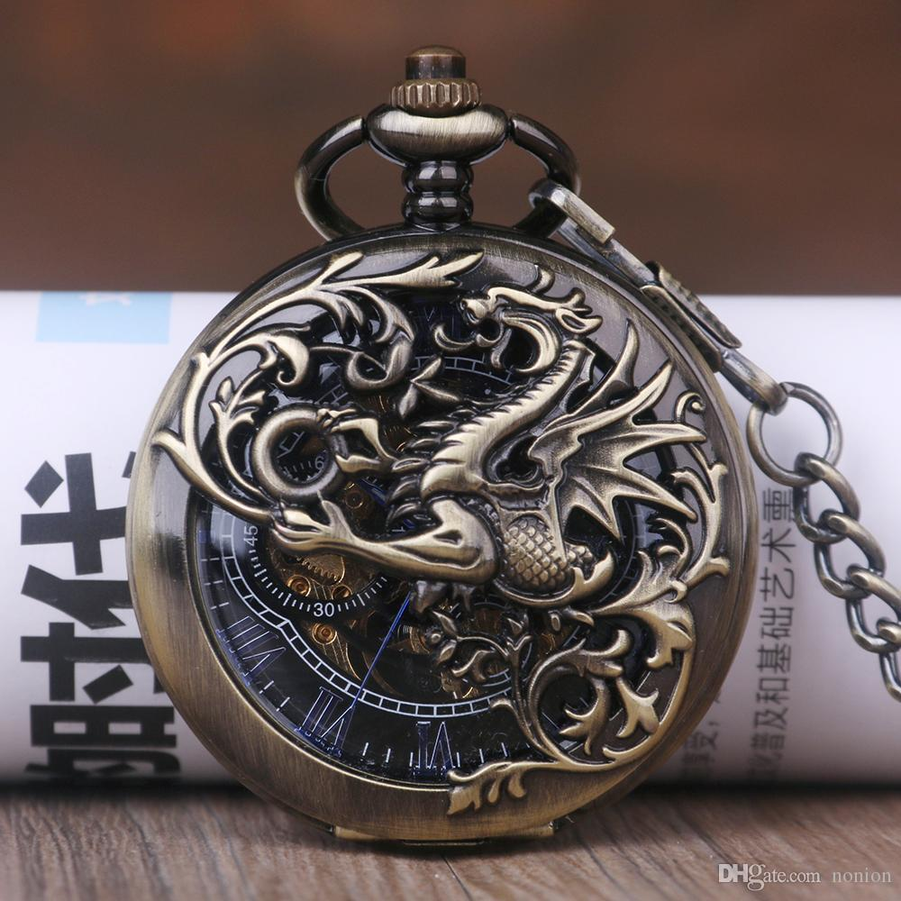 Mechanical Pocket Watch Steampunk 2018 Retro Design Bronze Necklace Fob Watch Gift Men's Hand winding Pocket Watches Round Dial