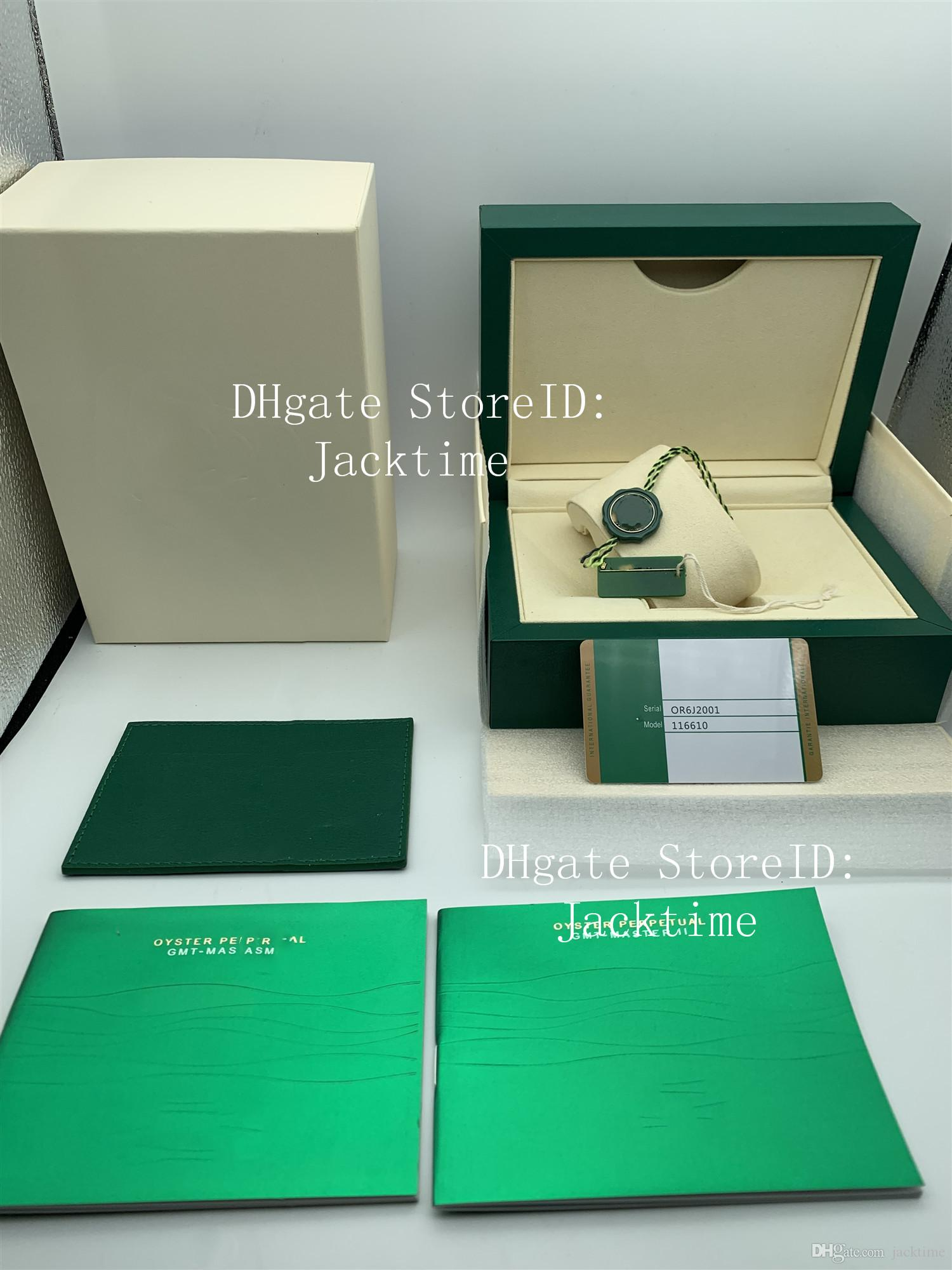 Best Quality Luxury Green Watch Box Gift Case For 116610 Watches Booklet Card Tags And Papers In English Swiss Watches Boxes Handbag