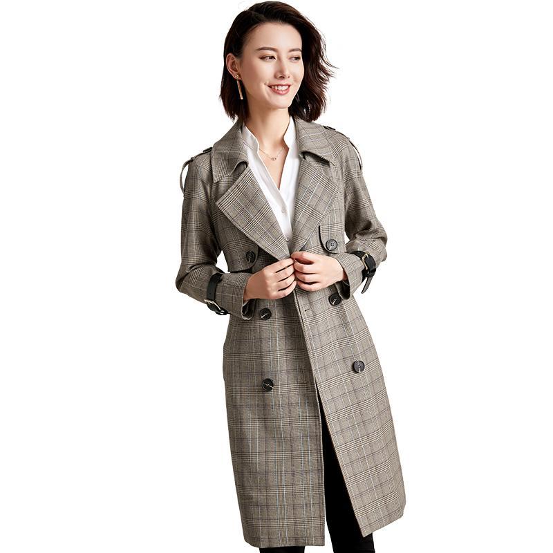 Shop für echte Bestseller einkaufen UK-Shop Retro Zweireiher Plaid Trenchcoat Damenmode Anzug Kragen Klassische Büro  Dame Coat 2019 Neue Ankunft Frühling Lange Mäntel