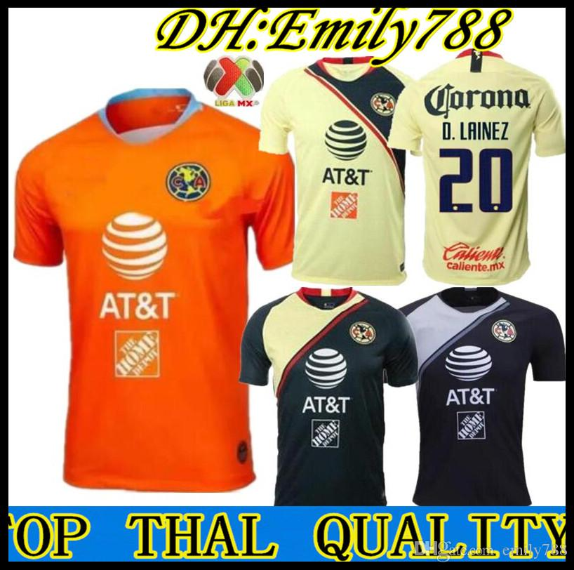 fc9a4197fd7 2019 18 19 America Jersey Goalkeeper Orange Soccer Jersey 2018 2019 Away  Mexico Club Third Black Football Shirt P.AGUILAR O.PERALTA MATHEUS From  Emily788