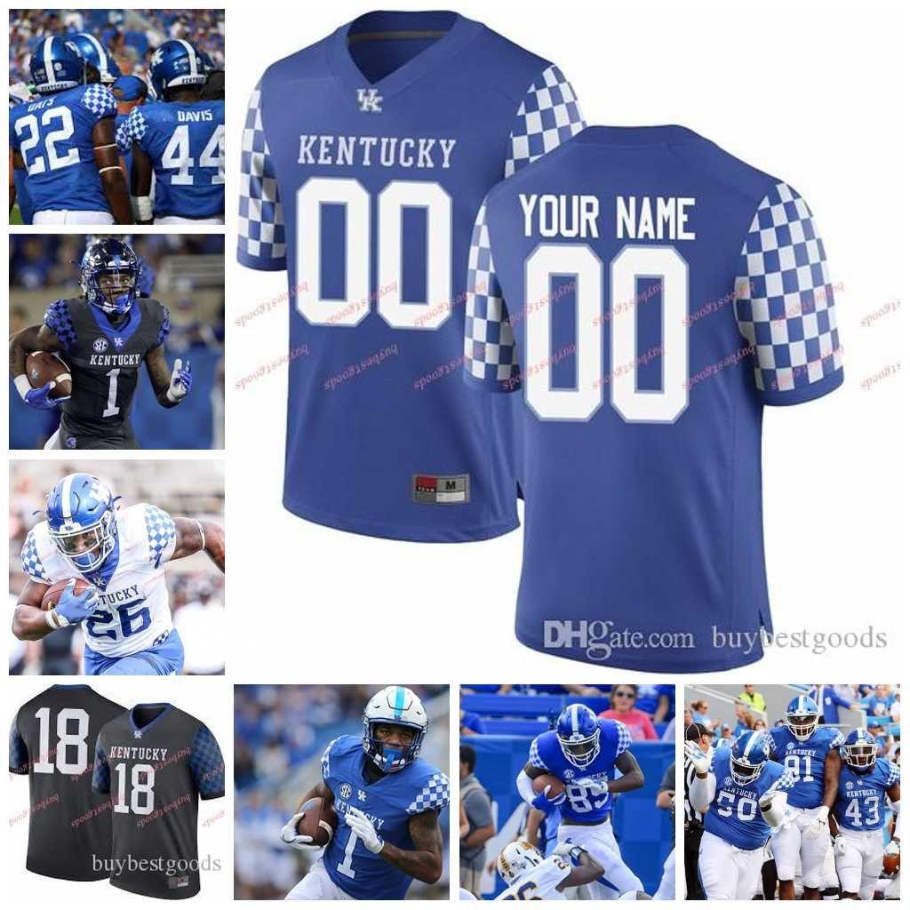 9d0480f490977 Compre Personalizado NCAA Kentucky Wildcats Reino Unido 26 Benny Snell Jr.  1 Lynn Bowden Jr. 8 Danny Clark 10 Asim Rose 33 David Bouvier College  Camiseta De ...