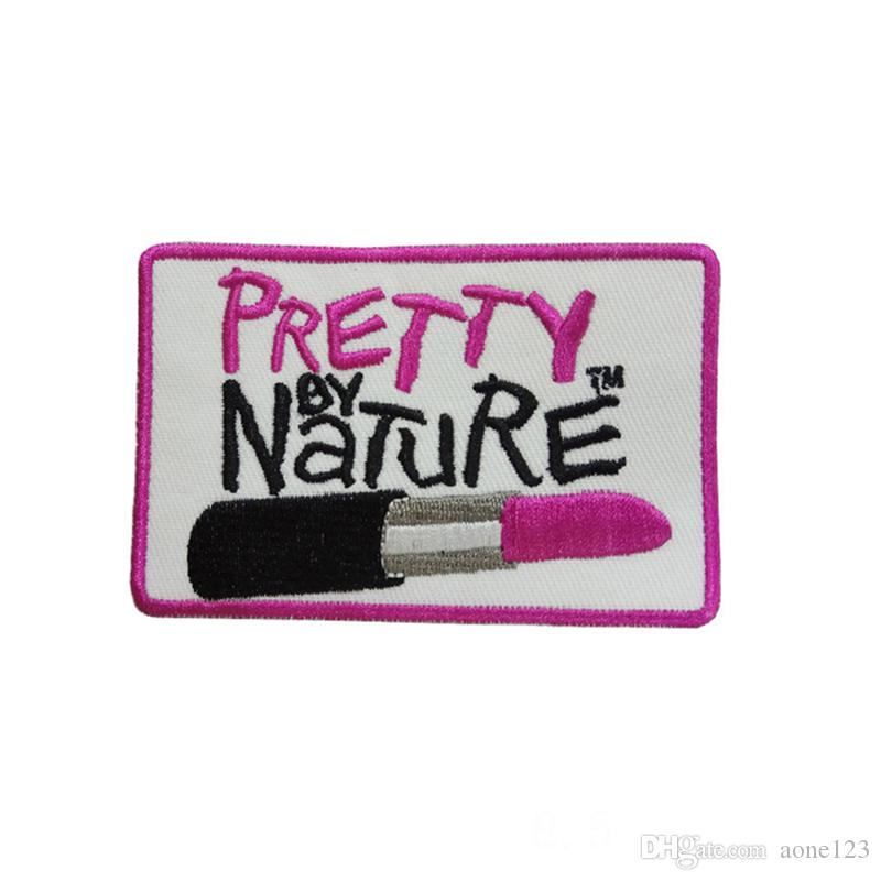pretty by Rosy lipstick brand clothing trousers patch embroidery badge free shipping diy can be custom