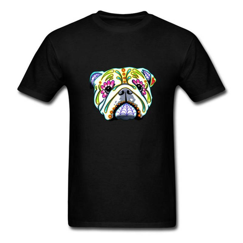 Band T Shirts Comfort Soft O-Neck Short-Sleeve Shirt Bulldog Day Of The Dead Sugar Skull Dog For Men