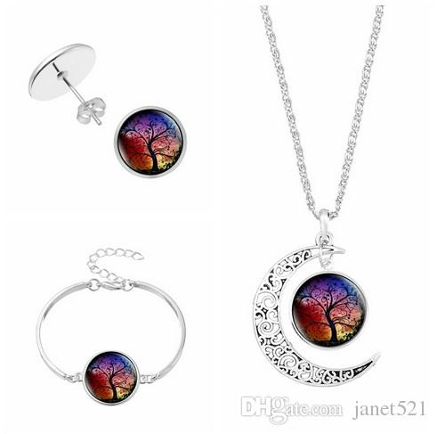 5d38655711 The Tree Of Life Jewelry Sets Necklace Earrings Bracelets Set Silver Plated  Glass Charm Pendants Jewelry Sets Womens Jewelry Sets Glass Charm Necklaces  ...