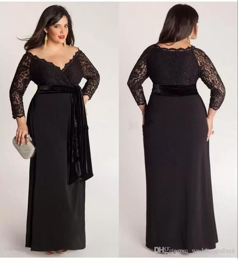 Black Plus Size Lace Long Sleeve Sheath Chiffon Evening Dresses V-Neck With  Velvet Sash Floor Length Special Occasion Gowns Prom Dress