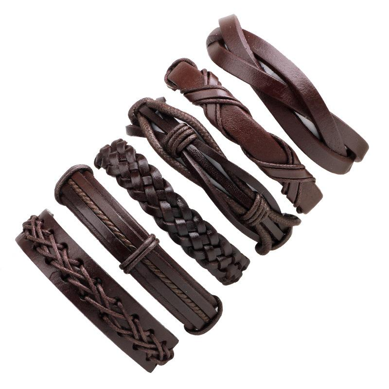 High Quality 6 Pcs/set Wax Rope Hand Woven Men's Leather Bracelet Jewelry