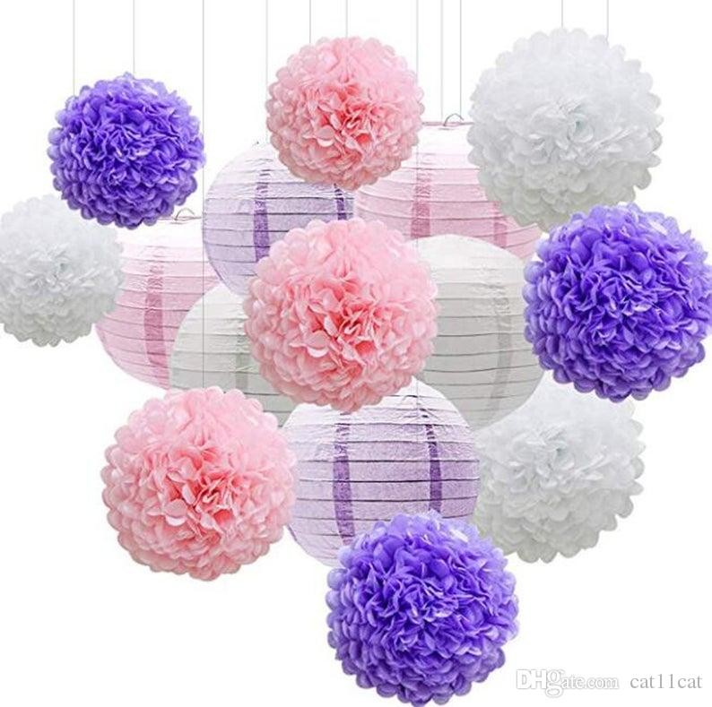15pcs Mermaid Party Decor Pink Purple White Paper Flowers Pom Poms Balls and Paper Lanterns for Wedding Birthday Bridal Baby Shower Decor