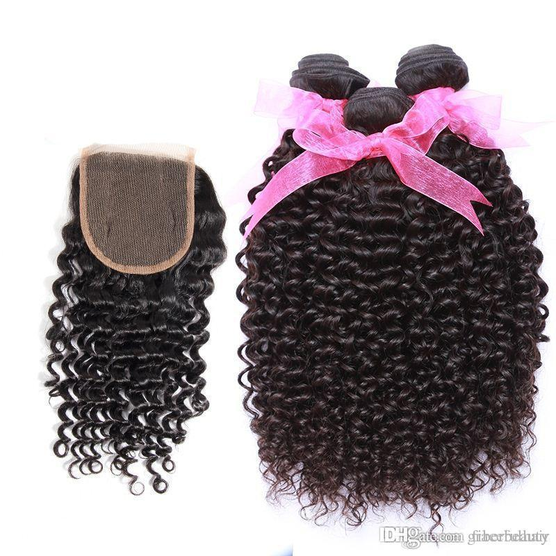 Kinky Curly Brazilian Virgin Hair Extensions With Lace Closure Brazilian Human Hair Bundles With Lace Closure Cheap Remy Human Hair Weave