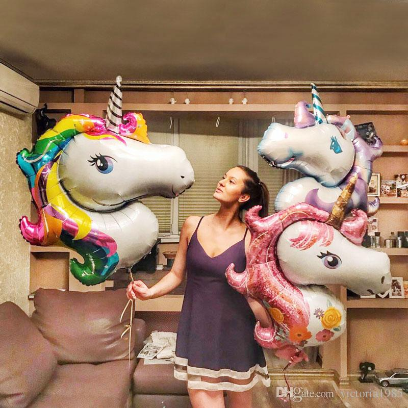 110*80cm Rainbow Unicorn Party Supplies Foil Balloons Kids Cartoon Animal Horse Float Globe Birthday Party Decoration