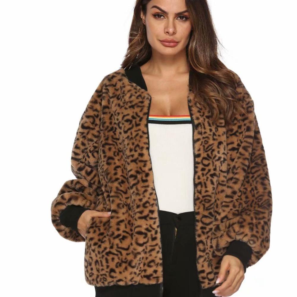 b9f5dc603885 2019 Linjiashop Faux Fur Coat Leopard Print Winter Jacket Fashion Slim  Women Outerwear From Workwell, $46.32   DHgate.Com