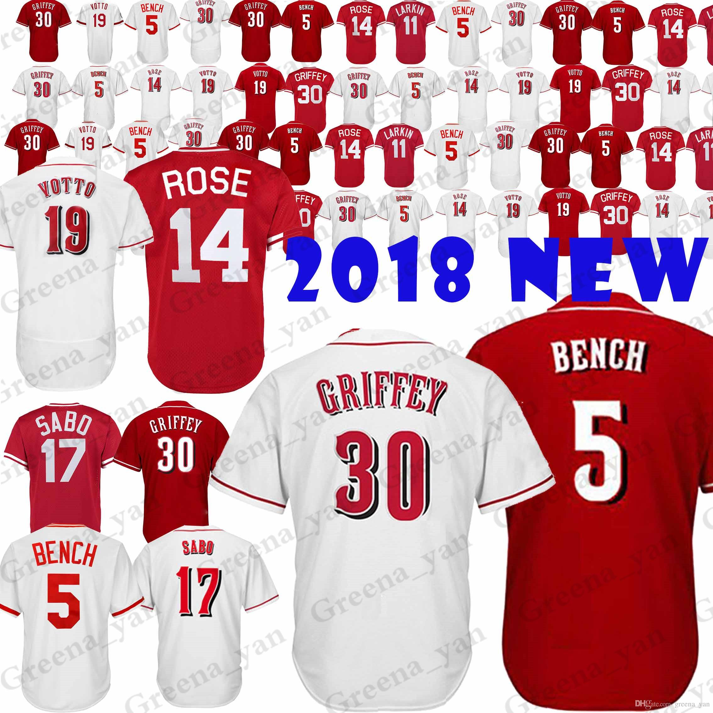 big sale 38f9d f0a03 TOP Cincinnati Reds Baseball Jersey 5 Johnny Benc 11 Barry Larkin 17 Chris  Sabo 19 Joey Votto 14 Pete Rose Jerseys High-quality