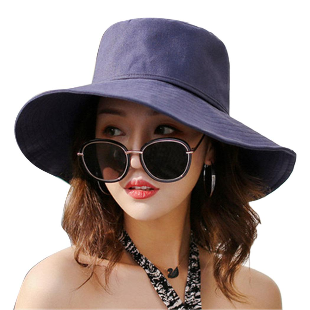 Fashion Wide Brim Sun Cap Ladies Foldable Summer Hats Cotton Bowknot ... 3c6ce2c7878f