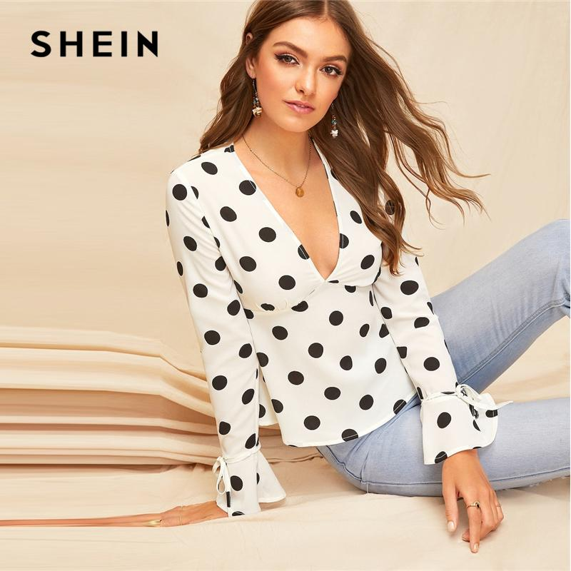 9b8295be2d452 2019 Sexy White Belted Bell Sleeve Polka Dot Bustier Top Blouse ...