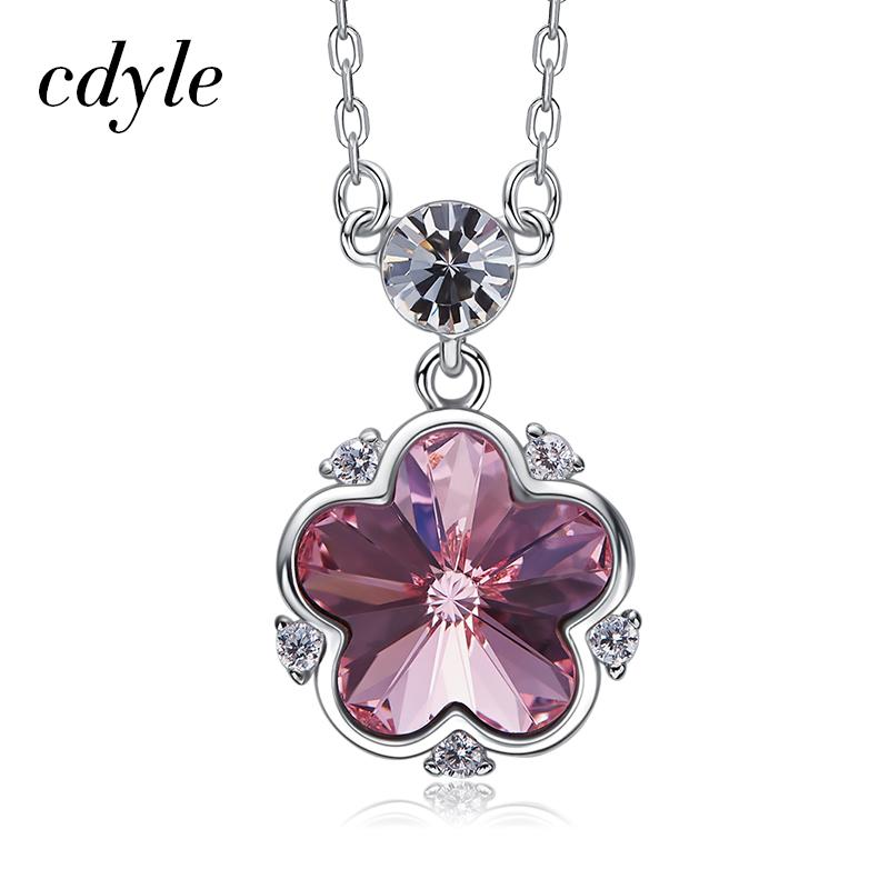 Cdyle 925 Sterling Silver Jewelry Hot Selling Crystals from Swarovski  Flower Pendant Necklace For Women Female Wedding Love Gift 9418fa28d