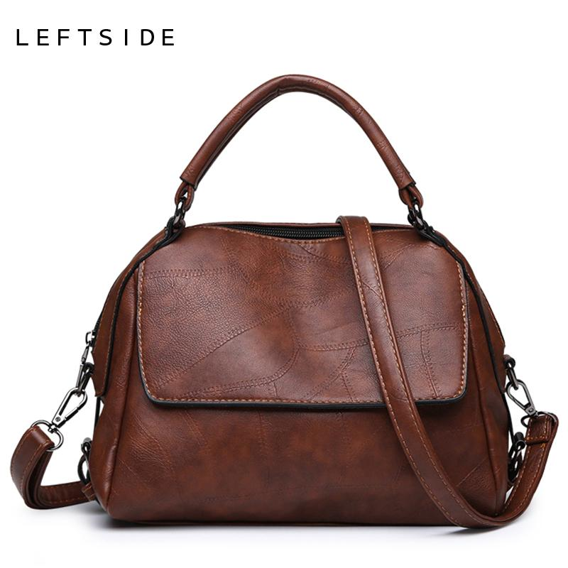 Leftside Stitching Leather Shoulder Bags For Women 2018 Female Top-handle Bags Ladies Retro Messenger Bag Crossbody Handbags New J190611