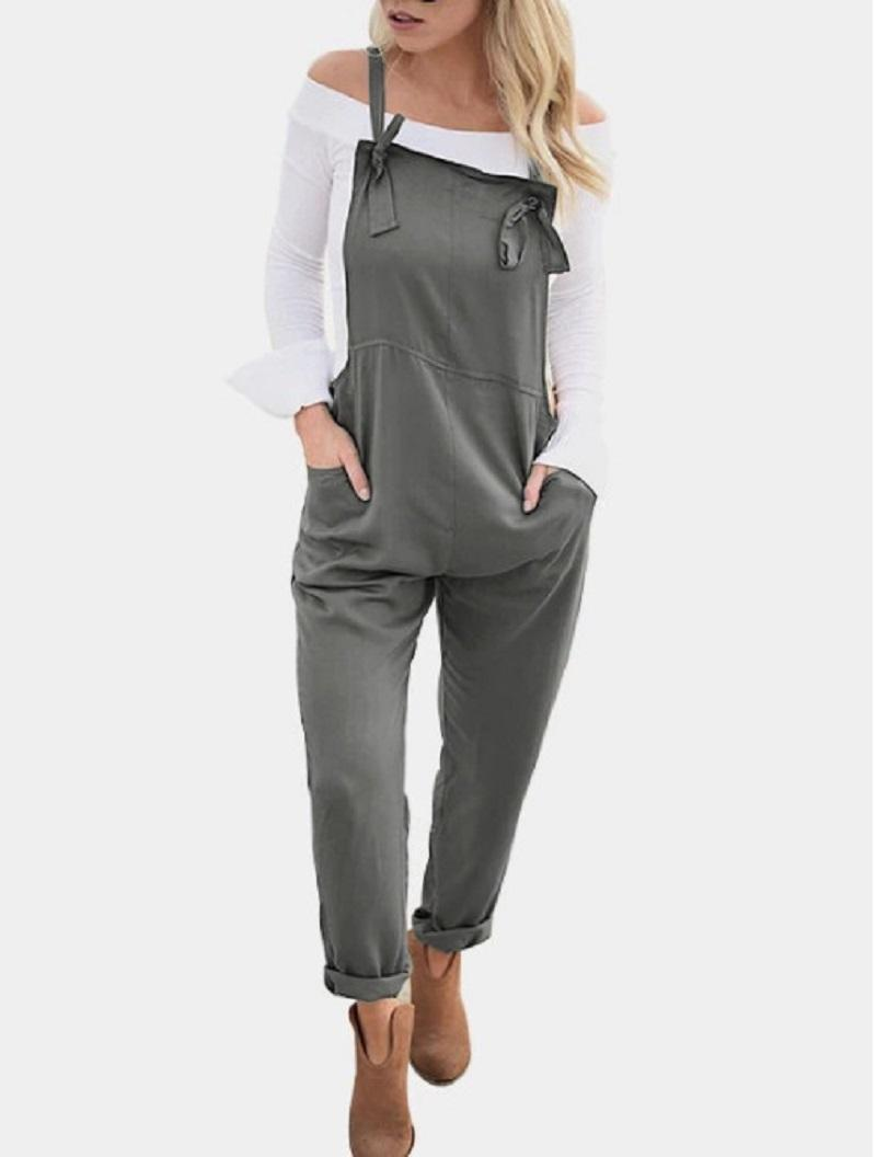 f22c99707e4b Womens Suspender Overalls Casual Bib Solid Long Jumpsuits Rompers 2018  Online with  48.76 Piece on Meirao s Store