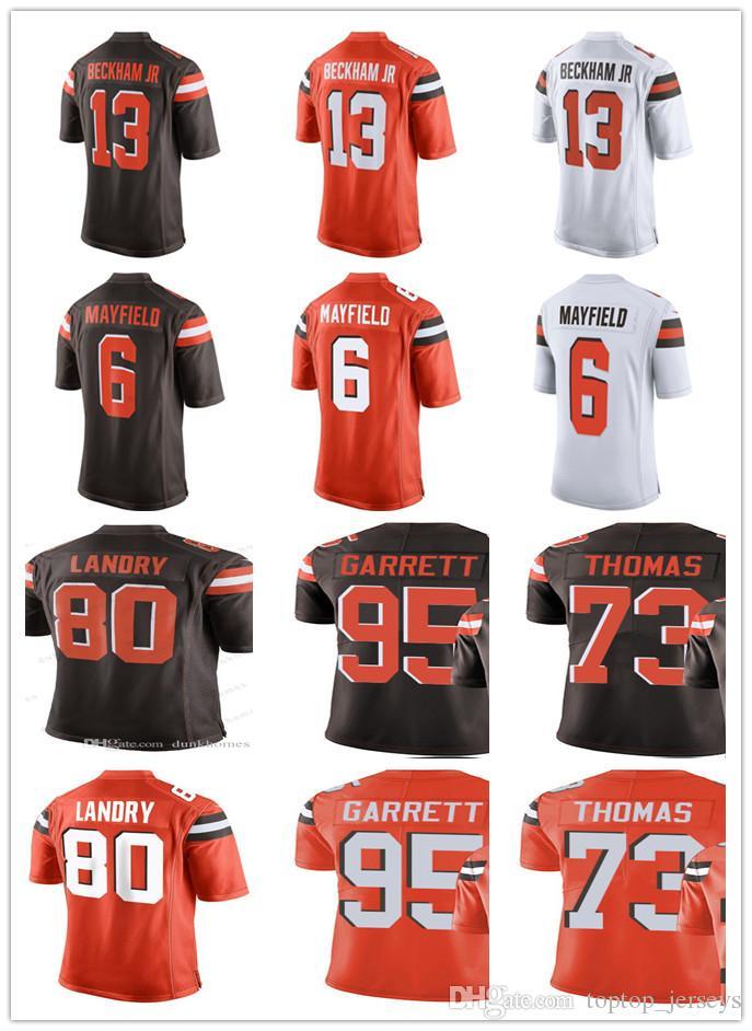 premium selection 1652a 346a1 Cleveland Men's Women Youth Browns Jersey #13 Odell Beckham Jr 6 Baker  Mayfield 73 Joe Thomas 95 Myles Garrett 80 Jarvis Landry Jerseys