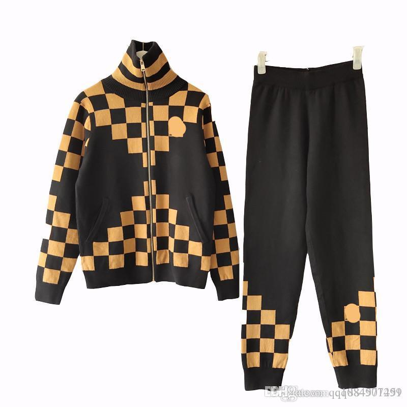 2019 Autumn New Square Collar sweat suits Set Outfits Designer Knit Cardigan Elastic Womens Two Piece Jogging Suits Plus designer tracksuits