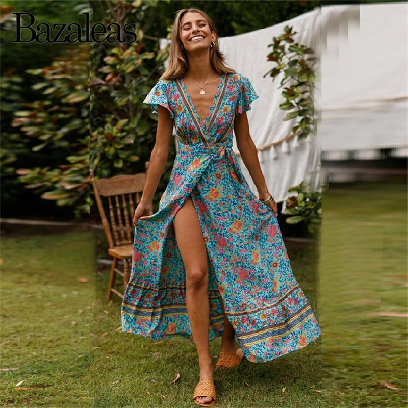 6a269750a8e84 Bazaleas 2019 Bohemian Summer Dress Vintage Floral Printed Wrap Dress  Fashion Tie In Side Women Dresses V Neck Midi Vestidos Black Evening Dresses  Dinner ...