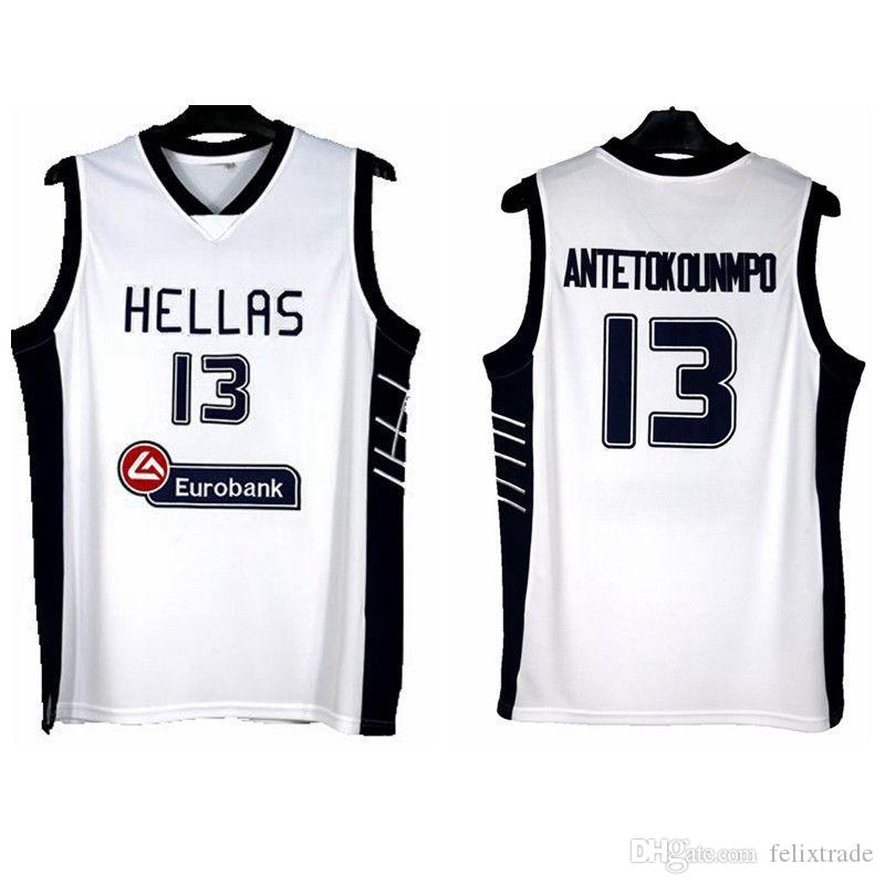 on sale 121bb 6fa75 Giannis Antetokounmpo 13 Greece White Basketball Jersey Double Stiched High  Quality shirt IN STOCK Free Shipping