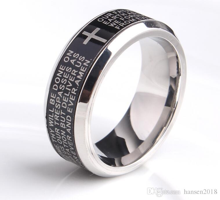 Rings 8mm Mens Titanium Steel Ring English Armor Men And Women Fashion Ring Jewelry