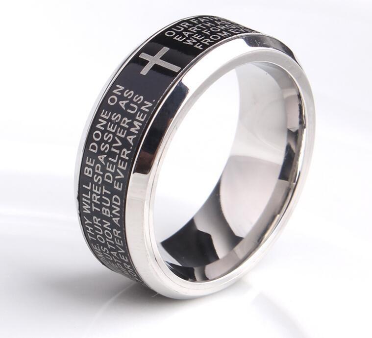 e1edb8e01f 8MM Men's Titanium Stainless Steel Bible finger rings Verse Christian  Lord's Prayer Cross Ring Wedding Bands Laser Engraved for Men women. Jewelry  sales
