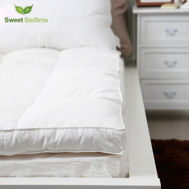 King Double Layer Down Proof Fabric Bed Mattress Topper White Duck