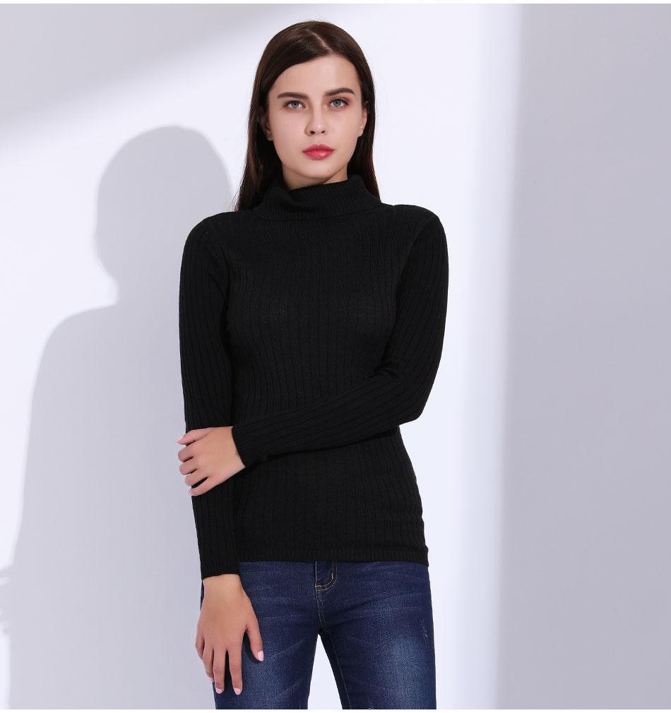 Compre Jersey De Cuello Alto Para Mujer Suéteres De Punto Mujer Otoño 2018  Thin Pull Femme Jumper De Manga Larga Suéter De Punto Mujeres GAREMAY  Q171135 A ... 713c5fc422dd
