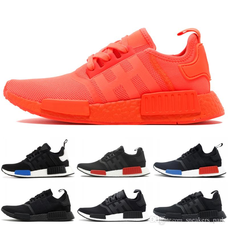 quality design a0c7e c43a3 2019 NMD R1 Primeknit Running Shoes Classic Triple Red Black Best Quality  Men Women Sport Shoes Designer Sneakers Trainers 36-44
