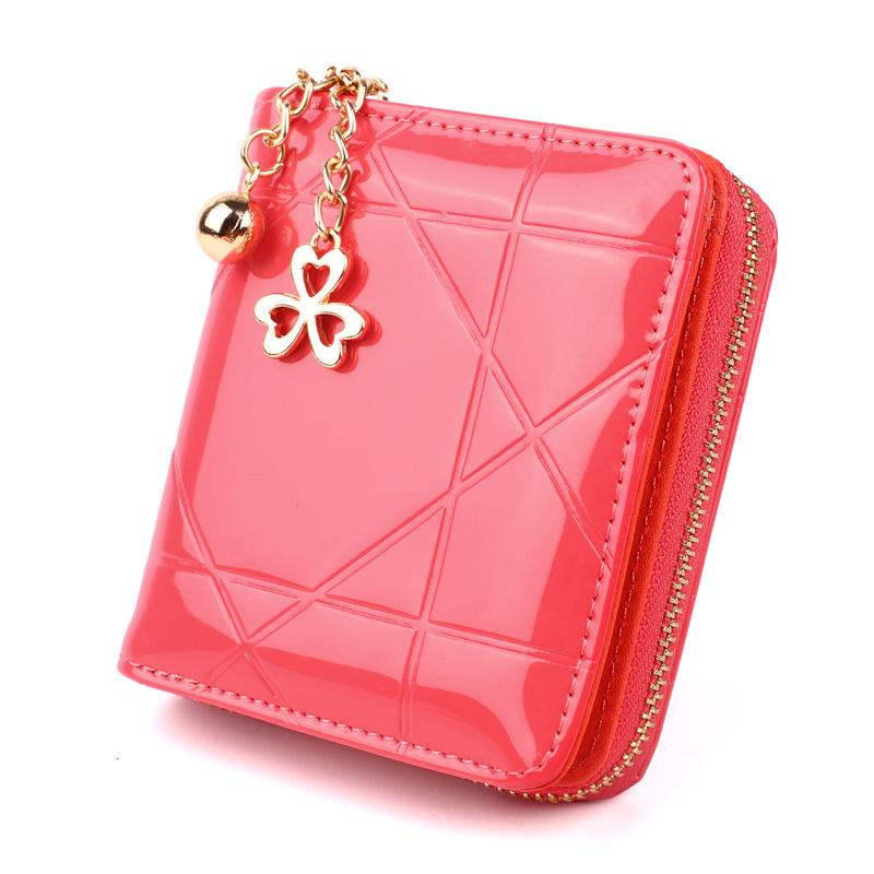Wholesale Latest Design Women Wallet Patent Leather Coin Purse Casual Pendant Wallet For Girls