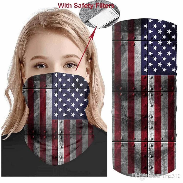 USA Flag magic headscarf bandana cycling masks Head Neck Scarves Windproof Sport Camouflag face mask with Filtere Party MasksT2I51008