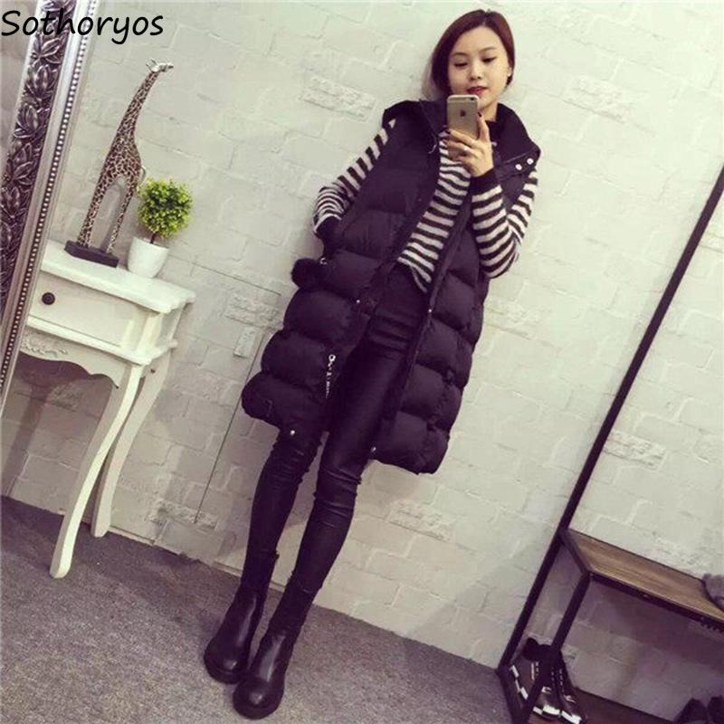 Vests Women 2018 Winter Plus Size Elegant Temperament Hooded Womens Waistcoats Sleeveless Korean Style Cotton Ladies Waistcoat
