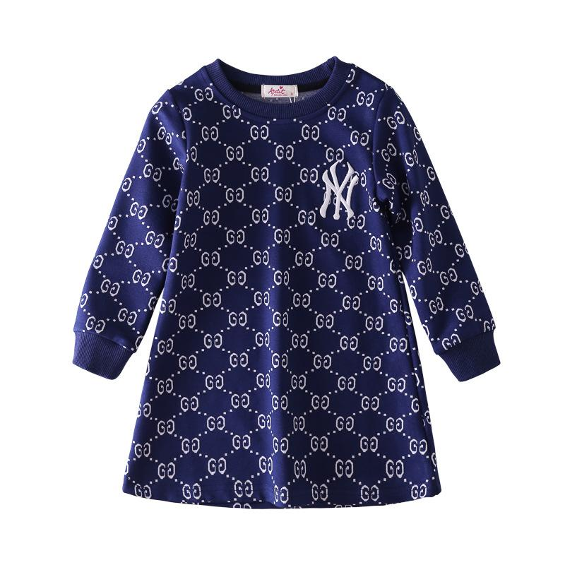 2019 Autumn Dress Girl Embroidery Dress Children Baby Printing Long Sleeves Princess Skirt