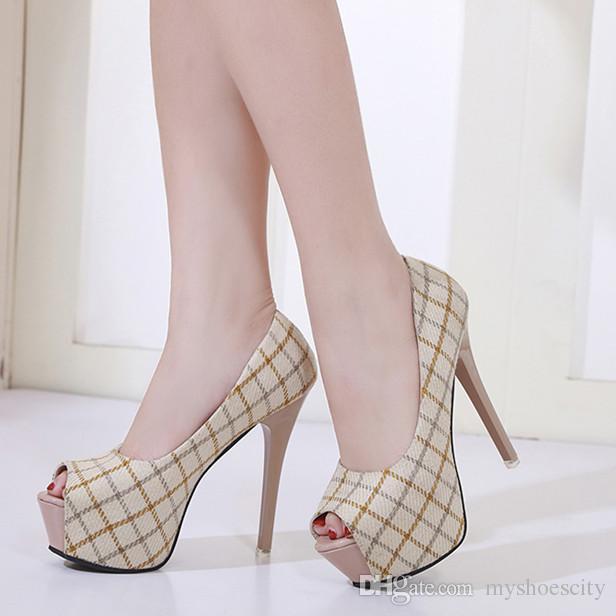 Adorable fashion beige grid pattern peep toe platform high heels women designer shoes pumps 13cm size 34 to 39
