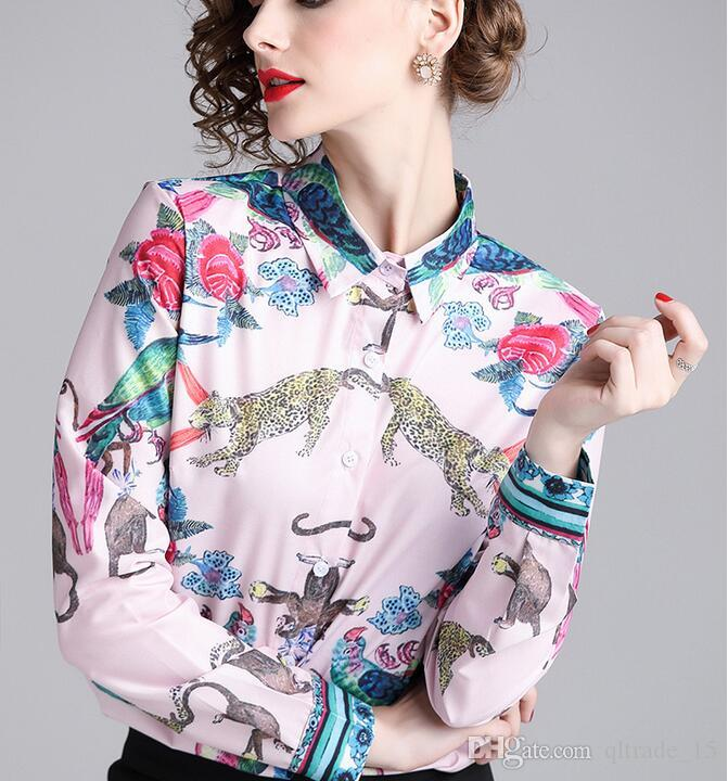 Beauitful bird monkey Leopard tiger flora printed white women blouse summer Contrast Color women shirts for sale