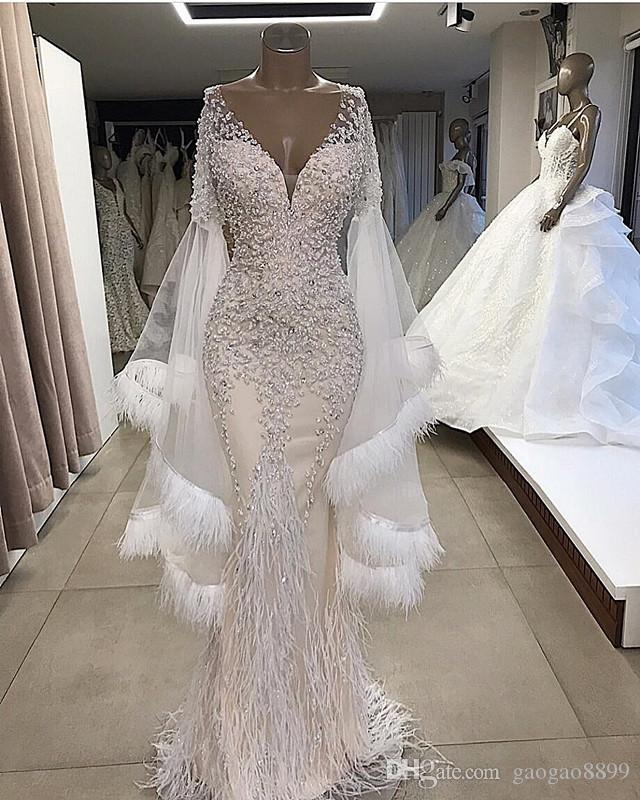 2019 luxury ostrich Feather Beaded Mermaid Wedding Dresses Sparkly sexy v neck Long Sleeves Bridal Gowns Plus Size Custom Made