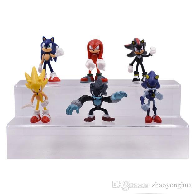 6 pçs / set Sonic The Hedgehog Sonic Sombra Caudas Knuckles PVC Action Figure Collectible Modelo Brinquedos