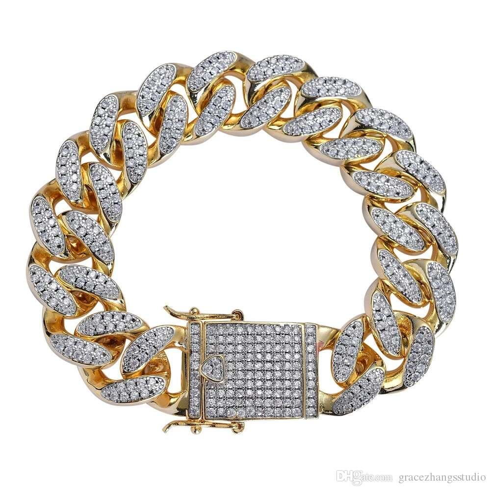 c52f79b706ed Cadena de eslabones de diamantes de hip hop pulsera para hombres cobre  circón chapado en oro real pulseras de lujo venta caliente occidental  joyería ...