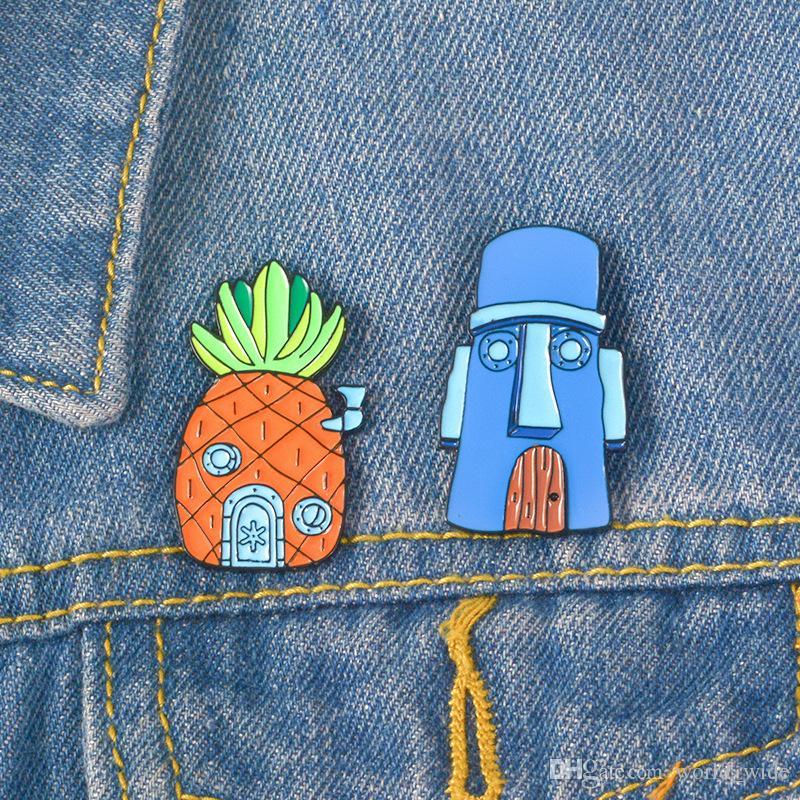 8321f7df6c11 Pineapple House from Sponge Enamel pins Cartoon brooches Lapel pins Enamel  pins Badges Men Women Kids